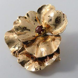Vintage Shreve & Co 14K Yellow Gold Pansy Brooch 1